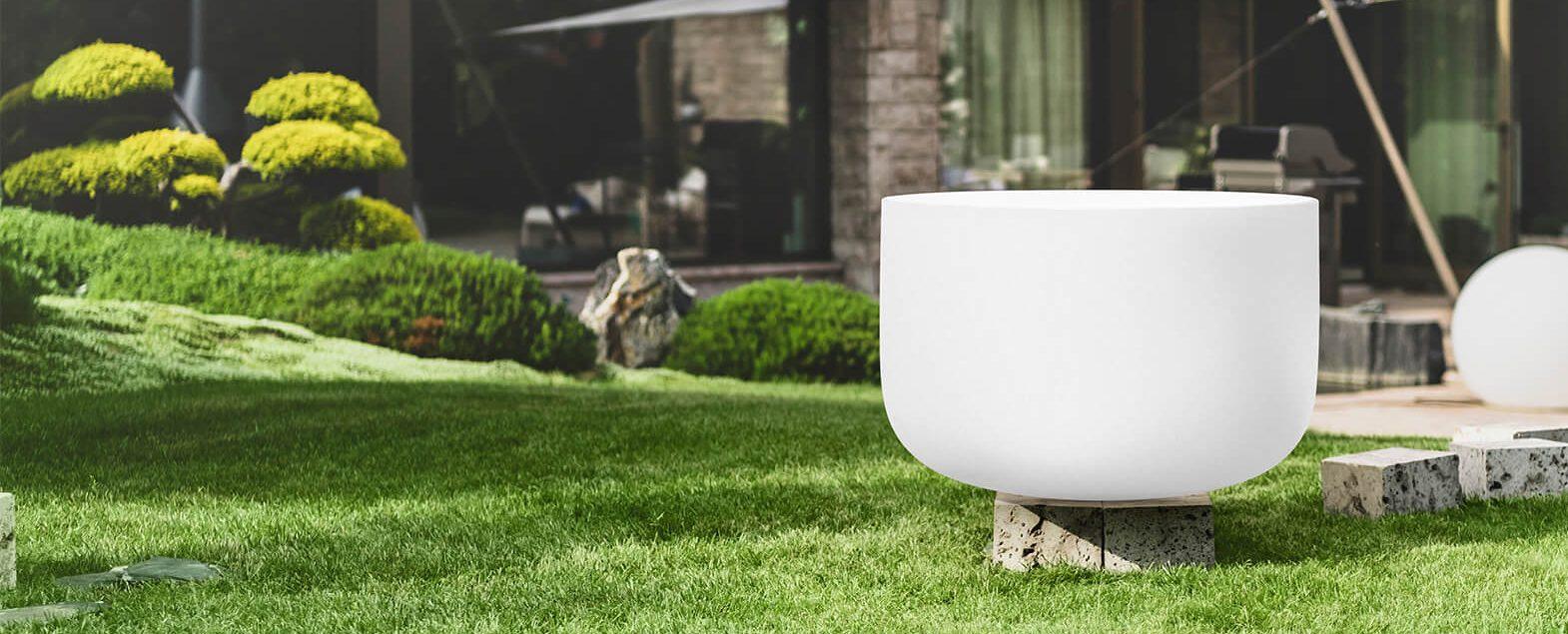 Qflame Vuurschaal gemaakt van kwartsglas in de tuin en buitenshuis